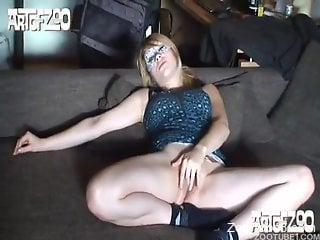 Blonde fingering herself before hardcore bestiality