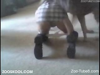 Skirt-wearing hottie gets fucked on all fours