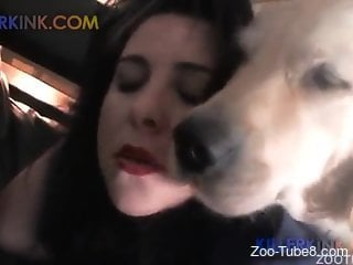 Latina maid getting her pussy fucked by a dog