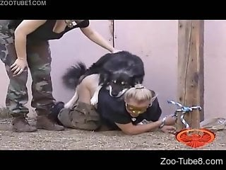 Dog ass fucks two naked women in a kinky show