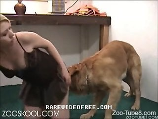 Blonde beauty gets intimate with the dog in rough scenes