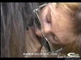 Horny mature is pleased to share such intimacy with the horse