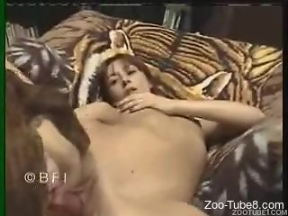 Redheaded zoophile falls in love with this dog's dick